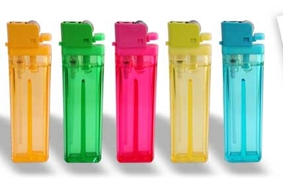 Cigarette Lighters - Translucent Colours,  Includes a 1 colour printed logo
