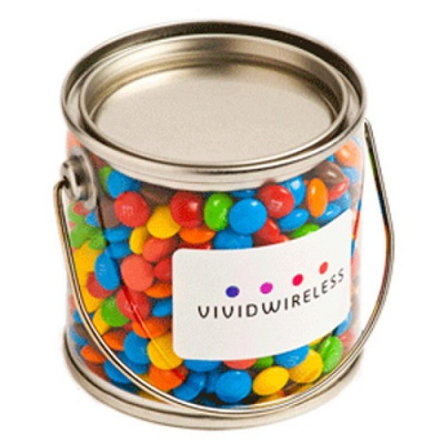 Small PVC Bucket Filled with Mini M&Ms 170G - Includes Colour Sticker on bucket
