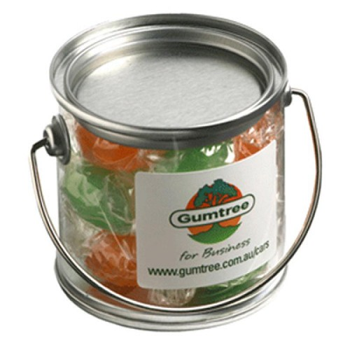 Small PVC Bucket Filled with Twist Wrapped Boiled Lollies 120G - Includes Colour Sticker on bucket