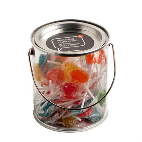 Big PVC Bucket Filled with Small Lollipops X50 - Includes Colour Sticker on bucket, From $8.82