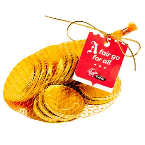 80G Mixed Chocolate Coins Bag with Gold Elastic Ribbon Tied in A Bow - Includes Unbranded