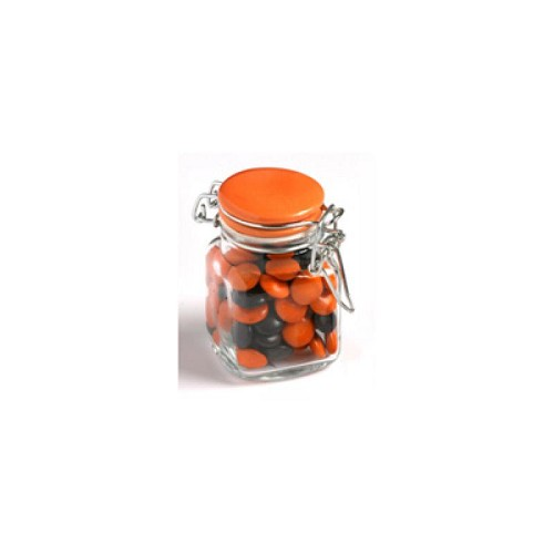 Choc Beans in Glass Clip Lock Jar 80G (Corporate Colours) - Includes Pad Print