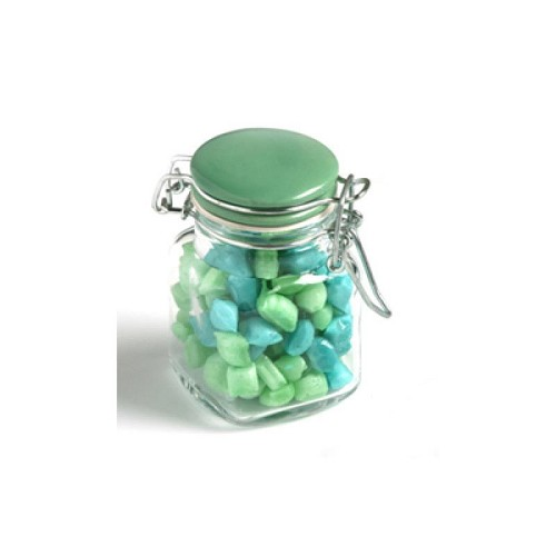 Corporate Coloured Humbugs in Glass Clip Lock Jar 80G - Includes Colour Sticker
