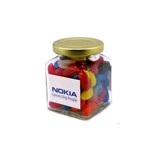 Jelly Beans in Glass Square Jar 170G (Mixed Colours or Corporate Colours) - Includes Colour Sticker