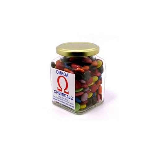Choc Beans in Glass Square Jar 170G (Corporate Colours) - Includes Colour Sticker