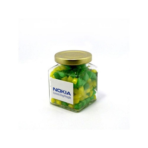 Corporate Coloured Humbugs in Glass Square Jar 140G - Includes Colour Sticker