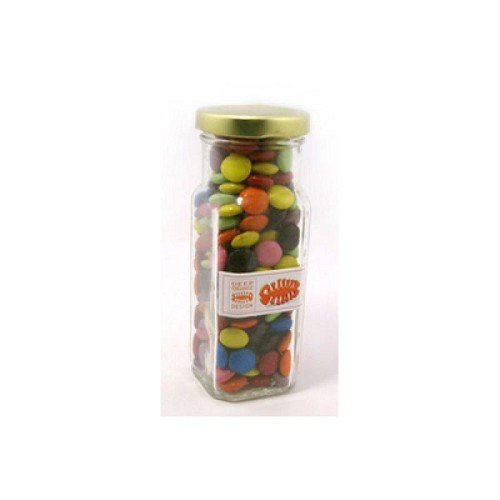 Choc Beans in Glass Tall Jar 220G (Mixed Colours) - Includes Colour Sticker