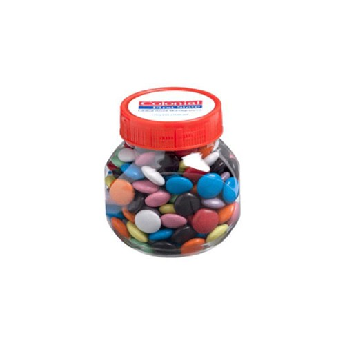 Plastic Jar Filled with Choc Beans 170G (Corporate Coloured Choc Beans) - Includes Colour Sticker, From $4.21