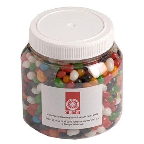 Jelly Beans in Plastic Jar 1Kg (Mixed Colours or Corporate Colours) - Includes Colour Sticker, From $10.4
