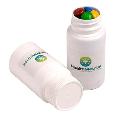 Pill Jar Filled with M&Ms 120G - Includes Colour Sticker