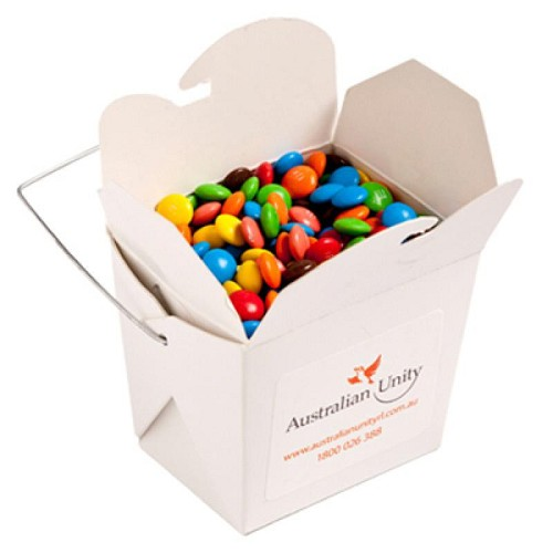 White Cardboard Noodle Box with M&Ms 100G - Includes Colour Sticker