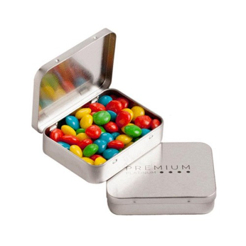 Rectangle Hinge Tin Filled with Chewy Fruits (Skittle Look Alike) 65G - Includes Colour Sticker