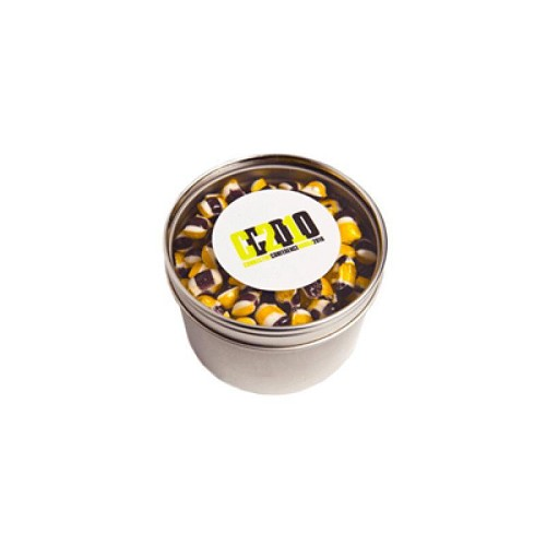 Small Round Acrylic Window Tin Fillled with Tiny Humbugs 100G - Includes Colour Sticker