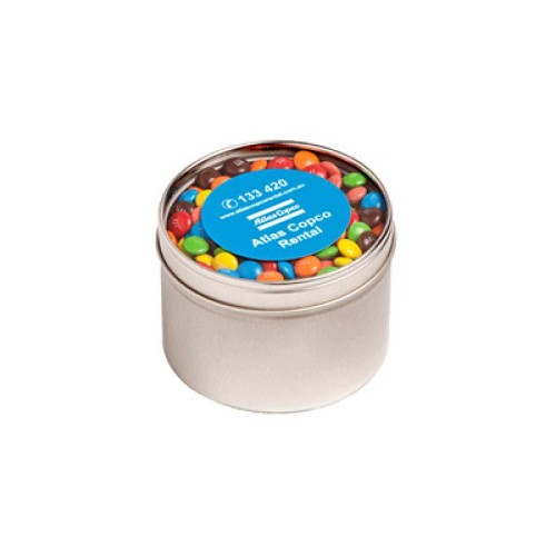 Small Round Acrylic Window Tin Fillled with M&Ms 140G - Includes  Colour Sticker, From $5.44