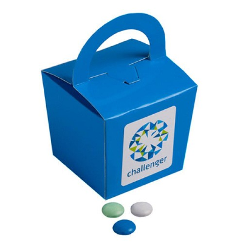 Coloured Noodle Box Filled with Choc Beans (Corporate Colours) 100G  - Includes Colour Sticker