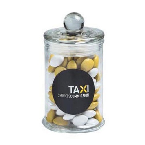 Small Apothecary Jar Filled with Choc Beans 115G (Corporate Colours) - Includes Colour Sticker on Jar