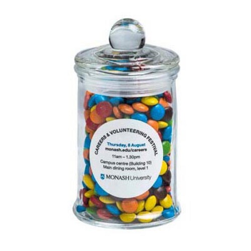 Small Apothecary Jar Filled with Mini M&Ms 115G - Includes Colour Sticker on Jar