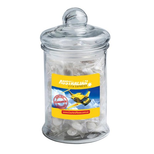 Big Apothecary Jar Filled Individually Wrapped Big Chewy Mints X80 (Unbranded Mints) - Includes Colour Sticker on Jar