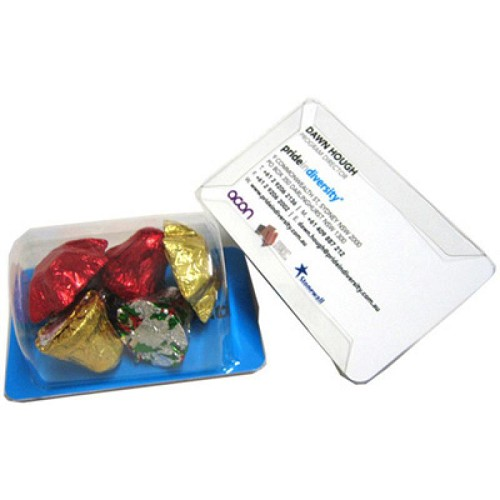 Biz Card Treats with Christmas Chocolates 45G - Includes 45G Mix of Bell & Star Chocolates