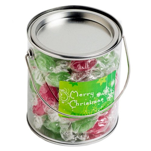 Big PVC Bucket Filled Christmas Twist Wrapped Boiled Lollies 550G