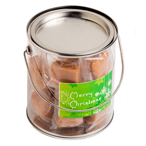 Big PVC Bucket Filled Christmas Fudge Or Coconut Ice - Includes Colour Sticker on bucket