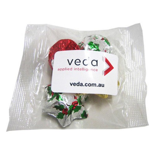 Cello Bag Filled with Christmas Chocolates 30G - Includes Colour Sticker