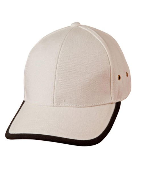Heavy brushed cotton peak & back trimp cap