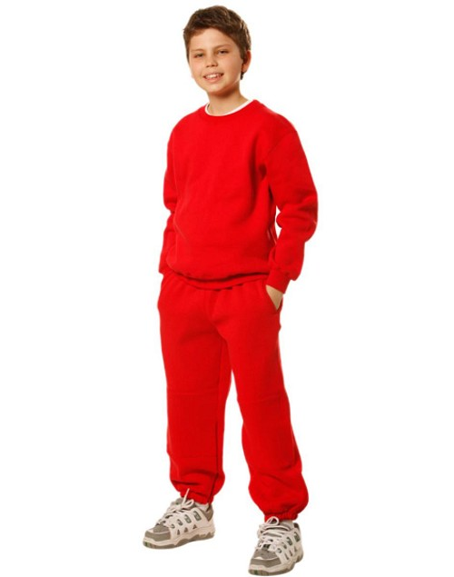 Kid's fleecy trackpants with Zip, Cuffs and knee padding