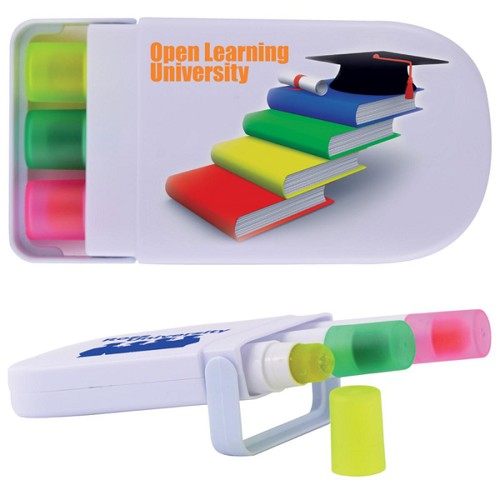Set of 3 Retractable Highlight Wax Markers in White Case - Includes a 1 colour printed logo