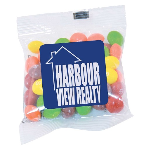 Assorted Fruit Skittles in 50 gram Cello Bag - Includes a full colour logo, From $1.53