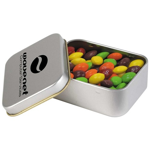 Assorted Fruit Skittles in Silver Rectangular Tin - Includes a 1 colour printed logo