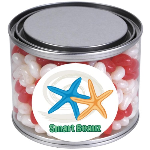 Corporate Colour Mini Jelly Beans in 500ml Drum - Includes a full colour logo
