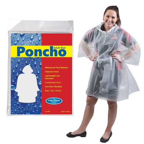 Reusable Poncho in Polybag - Includes a full colour logo