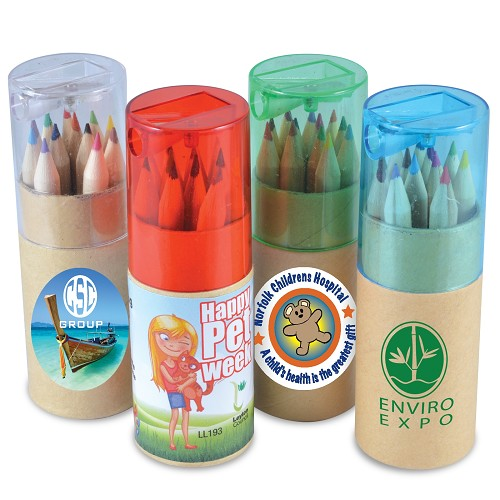 Coloured Pencils in Cardboard Tube - Includes a 1 colour printed logo
