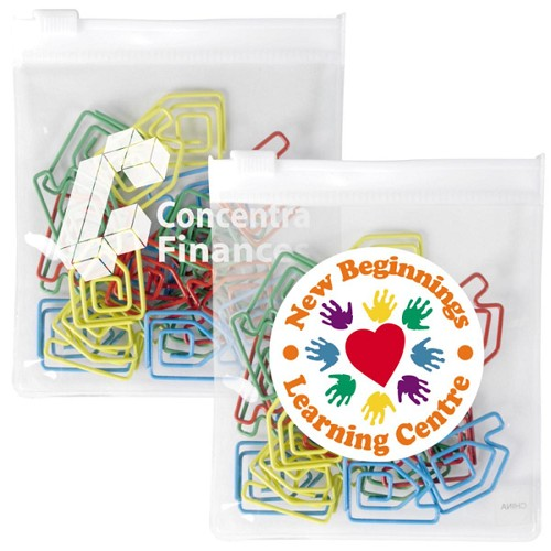 House Paperclips in PVC Zipper Pouch - Includes a 1 colour printed logo
