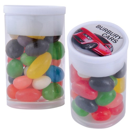 Assorted Colour Mini Jelly Beans in Dinky Tube - Includes a full colour logo