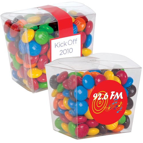 M&M's in Clear Mini Noodle Box - Includes a full colour logo