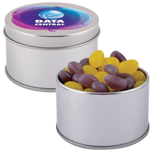 Corporate Colour Mini Jelly Beans in Silver Round Tin - Includes a 1 colour printed logo