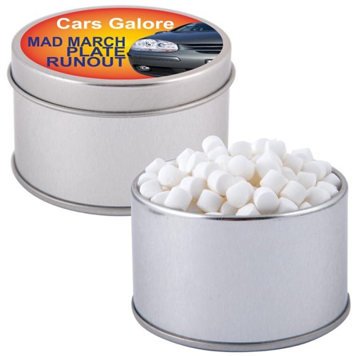 Peppermints in Silver Round Tin - Includes a 1 colour printed logo
