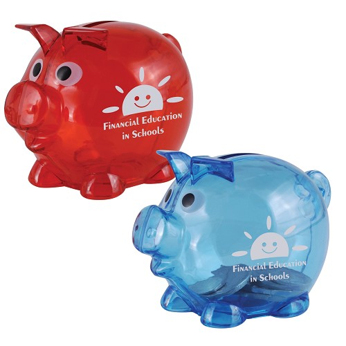World's Smallest Pig Coin Bank - Includes a 1 colour printed logo