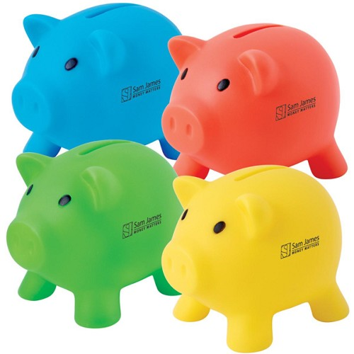 Pee Wee Pig PVC Coin Bank - Includes a 1 colour printed logo