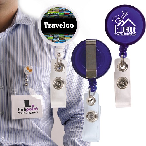 Retractable Name Badge Holder with Metal Clip - Includes a 1 colour printed logo
