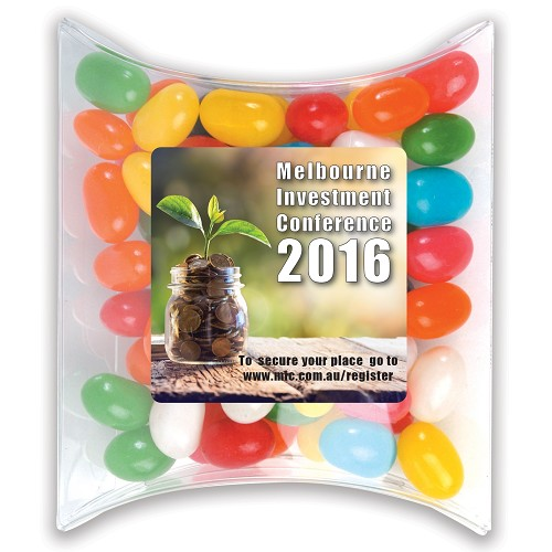 Assorted Colour Mini Jelly Beans in Pillow Pack - Includes a full colour logo, From $1.9