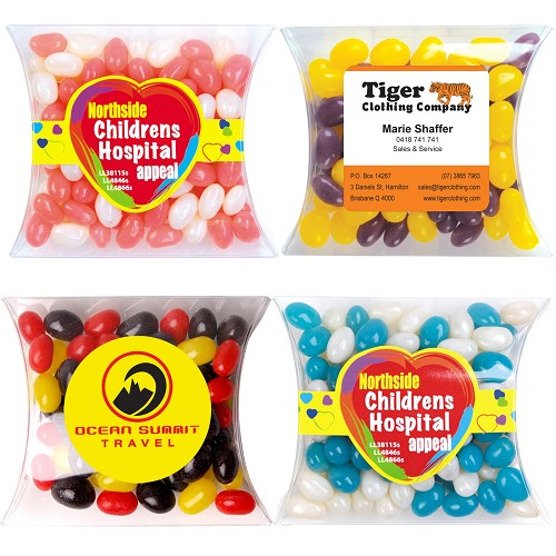 Corporate Colour Mini Jelly Beans in Pillow Pack - Includes a full colour logo
