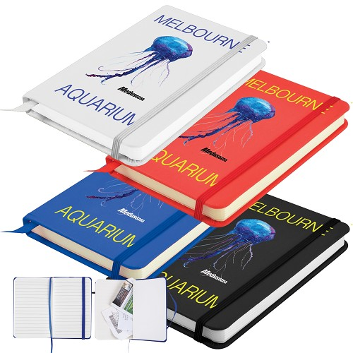 Notebook with Elastic Closure / Expandable Pocket - Includes a 1 colour printed logo