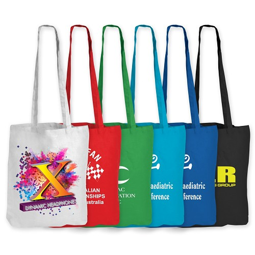 Coloured Cotton Double Long Handle Conference Bag - 140 GSM - Includes a 1 colour printed logo