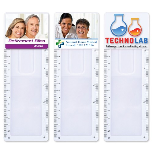 Clear Bookmark Magnifier Ruler - Includes a 1 colour printed logo