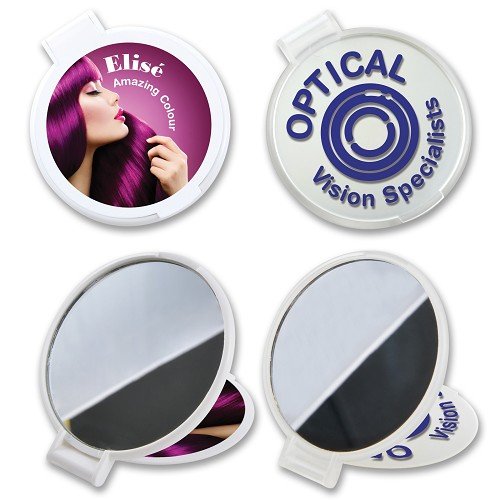 Reflections Round Folding Mirror - Includes a 1 colour printed logo