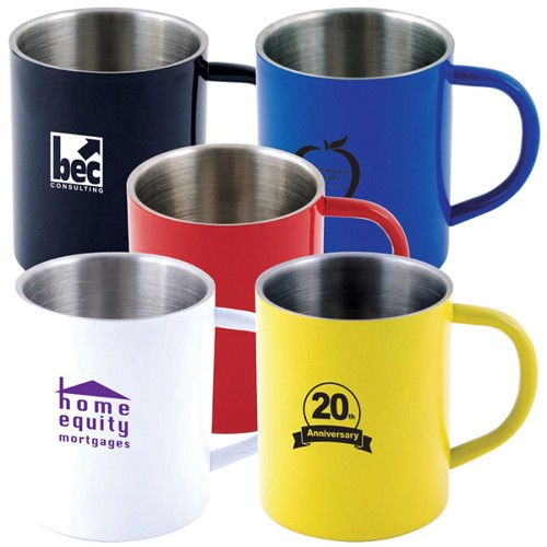 Stainless Steel Coloured Double Wall Barrel Mug - Includes a 1 colour printed logo