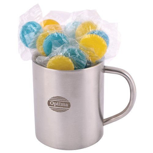 Corporate Colour Lollipops in Double Wall Stainless Steel Barrel Mug - Includes laser engraving logo